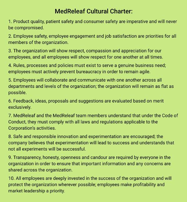 MedReleaf Cultural Charter
